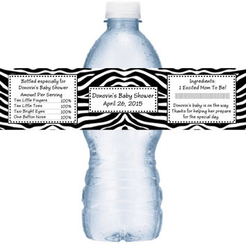 Zebra Themed Baby Shower Water Labels
