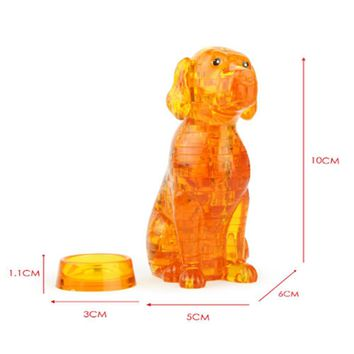 Kids 3D Crystal Dog Animal Assembled Puzzles Toy