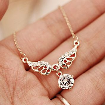 Flying Wings Rhinestone Necklace