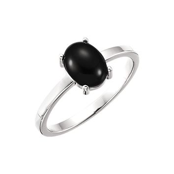 14K White 8x6mm Oval Onyx Cabochon Ring
