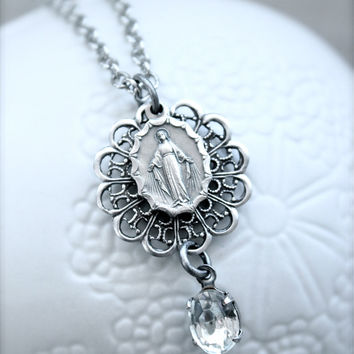 Antique silver Miraculous Medal necklace  Vintage by sweetsimple