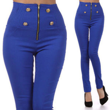 Blue Button Front Pants High Waist Zipper Skinny Slim Colored Leggings Trousers