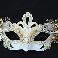 ON SALE Masquerade Mask - Venetian White / Turquoise Gold Laser Cut Metal Masquerade Mask