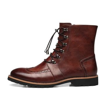 Wakeby Wolf Freedom Brogue Wingtip Lace Up Zipped Genuine Leather Boots