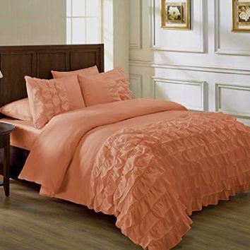 Chezmoi Collection Ella 2-piece Ruffle Comforter Set Twin, Salmon
