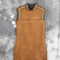 Coffee Beaded Sleeveless Zipper Back Suede Dress