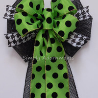 Green Black Halloween Bow Black Green Halloween Polka Dots Wreath Bow Black Net Houndstooth Halloween Bow Fall Door Hanger Decoration