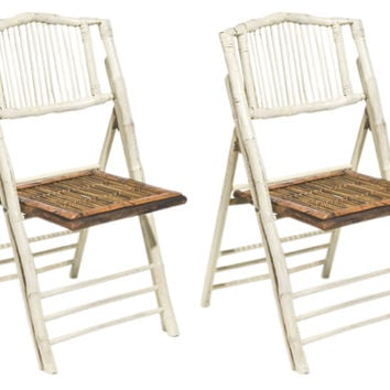 White Anneliese Folding Chairs, Pair, Outdoor Bistro Chairs