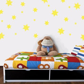 49 Yellow Star Wall Decals