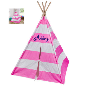 Personalized Child's TeePee, Tent, Wigwam, Play Fort, Great Gift for Birthdays and Christmas, Pink Stripe