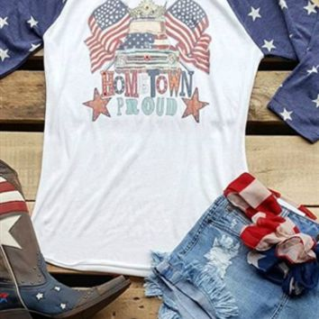 baseball tee with truck and flags
