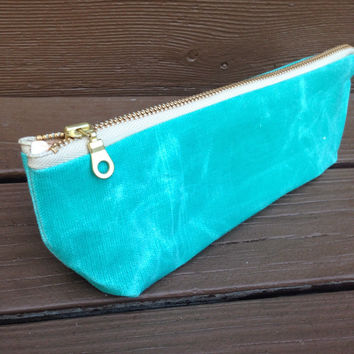 Teal waxed canvas Makeup bag