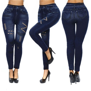 Women's Sexy Close-fitting Imitated Denim Jean Hollowed Leggings (Size M Color Hollowed Lipstick) (Size: M, Color: Blue) = 1929859844