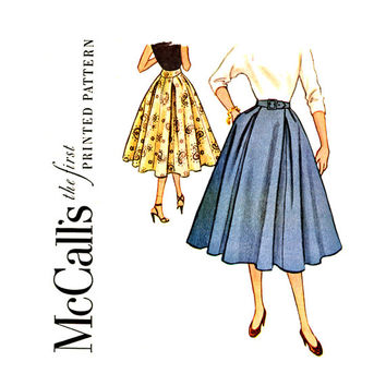 1950s Full Skirt Vintage Sewing Pattern Waist 24 UNCUT McCalls 9649 Softly Pleated Flared Circular with Side Unpressed Pleats Rockabilly