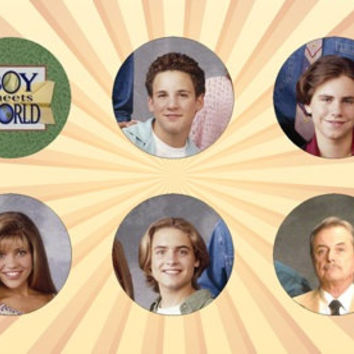BOY MEETS WORLD Set of 6 - 1 Inch Pinback Buttons or Magnets