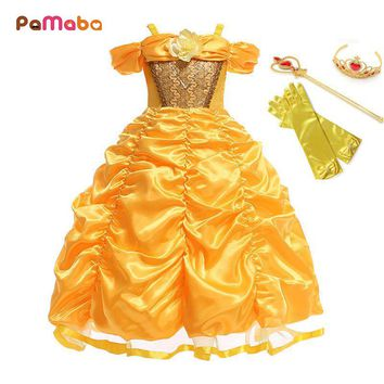 PaMaBa Cartoon The Beauty and the Beast Princess Belle Dresses Outfit Children Halloween Birthday Party Fantasy Cosplay Costume