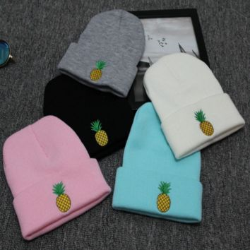Cute Unique Pineapple Embroidery knitted Hat Beanies