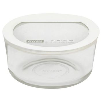 Pyrex No leak Glass Lids Storage 4 cup Round- White