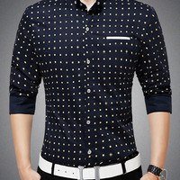 Polka Dot Print Long Sleeves Pin Collar Shirt
