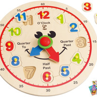 Hape Happy Hour Clock -Time Learning Puzzle with Coloring Book