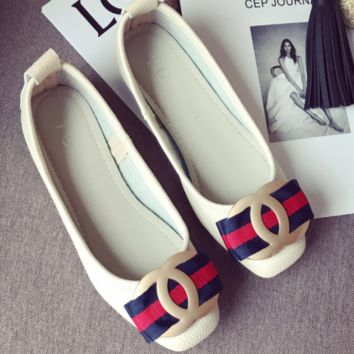 CHANXEL New Fashion Hot Flat Metal Agio Bow Knot Red And Navy Blue Stripe Shoes Single Shoes White