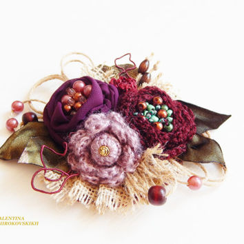 Fabric Brooch. Textile Brooch. Beautiful Handmade Brooch.Yarn Knitted Boho Brooch.Shabby Chic