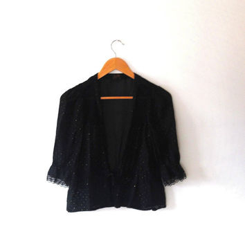 Black / gold / polka dot / metallic / lace / elegant / gothic / vintage / retro / 80s / trim / sheer / tie / bolero / cardigan