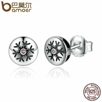 BAMOER Real 100% 925 Sterling Silver Pink Crystals Snow Snowflake Stud Earrings Women Fashion Jewelry Christmas Gift SCE027-1L