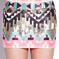 Sequined Southwest Mini Skirt