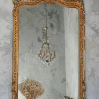 One of a Kind Antique Mirror Weathered Gold Gilt
