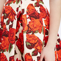 Box-Pleated Rose Print Skirt