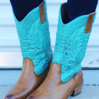 Cowgirls Don't Cry Boots: Teal