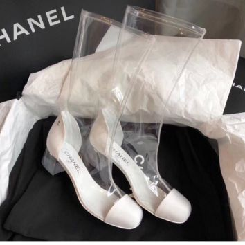 Chanel  Double C sandals with rough crystal and round head, fashionable transparent long tube, rain boots, women's shoes.