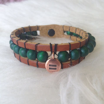 LGBT Equality Leather Cuff Bracelet - Handmade, Unisex, Beaded, Hand Sewn, Leather Bracelet, Copper, Green, Gay, Transgender, Genderfluid