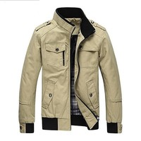 Cotton Jackets Coat Men Stand Collar Military Fashion Casual Outerwear