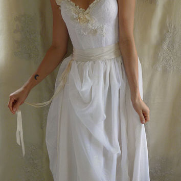 Woodland Bustier Wedding Gown... whimsical dress woodland boho fairy fantasy alternative free people country chic shabby lace ivory