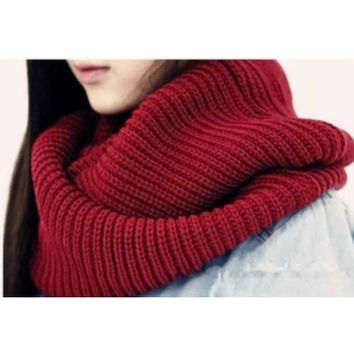 New Arrive Men Women's Nice Winter Warm Infinity 2Circle Cable Knit Cowl Neck Long Scarf Shawl-J117
