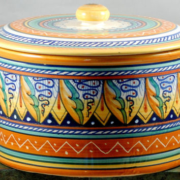 Vintage Hand Painted Italian Pottery Canister Biscuit Jar Signed Ceramica Italy