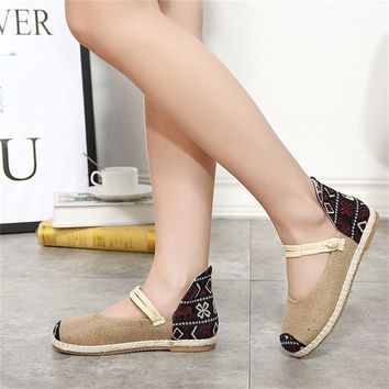 New Fashion Chinese style Femininio Casual Spring Flats 2018 Hot Sale Women Shoes Embroidered Hemp Shoes Gingham Oxfords Flats