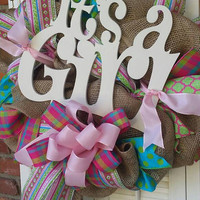 Baby Girl Wreath Welcome Baby Shower Its A Girl Baby Shower Hospital Door Baby Wreath Pink Green Nursery Decor Girl Nursery Decor Turquoise
