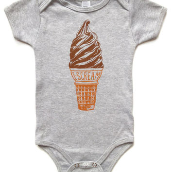 Ice Cream Baby Bodysuit - heather grey, infant gray short sleeve summer shirt, unisex for boys and girls, scream for icecrem, rad gift