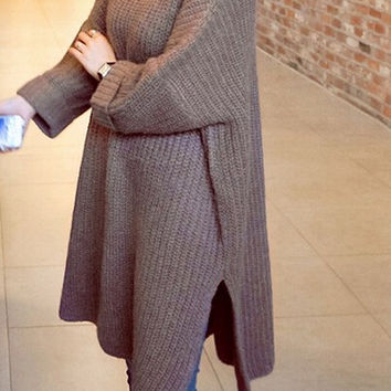 HOT GREY FASHION LONG SWEATER DRESS