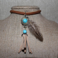 Turquoise Pendant, Boho Choker, Feather Necklace, Western Necklace, Bohemian Choker, Turquoise Choker, Hippie Choker, Boho Feather Necklace