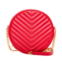 Saint Laurent Red Leather Quilted Chevron Bubble Bag