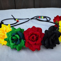 Rasta Flower Headband - Rose Headband - Festival Headband - Hippie Headband - Rastafarian - Reggae - Hair Accessories