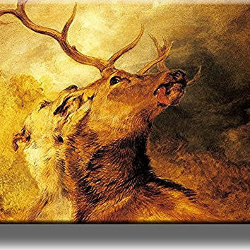 Hound Biting Stag Painting Picture on Stretched Canvas, Wall Art Decor, Ready to Hang!