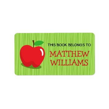 Red apple on green background bookplate book label