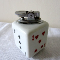 Vintage French Table Lighter Shaped As A Dice/Die