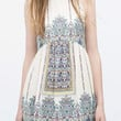 White Tribal Print Sleeveless Mini Dress