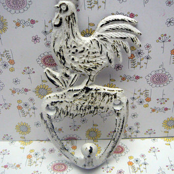 Rooster Shabby Style Chic Cast Iron White Distressed Pet Leash Key Jewelry Hand Towel Hook Rustic French Country Kitchen Mudroom Farmhouse
